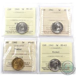 5-cent 1940, 1941, 1942 Nickel & 1942 Tombac ICCS Certified MS-63. 4pcs