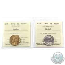 5-cent 1942 Nickel & Tombac ICCS Certified MS-64. 2pcs