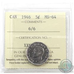 5-cent 1946 6/6 Variety ICCS Certified MS-64