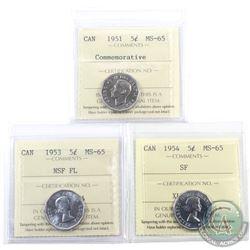 5-cent 1951 Commemorative, 1953 NSF FL & 1954 SF ICCS Certified MS-65. 3pcs