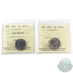 5-cent 1951 Low Relief & 1952 ICCS Certified MS-65. 2pcs. Beautiful strikes worth an extra bid!