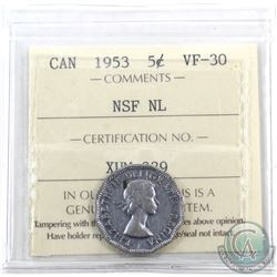 5-cent 1953 NSF NL, MULE ICCS Certified VF-30.