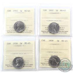 5-cent 1955, 1957, 1958 & 1959 ICCS Certified MS-65. 4pcs