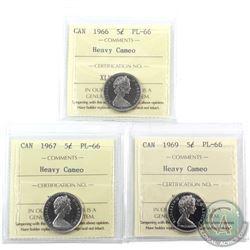 5-cent 1966, 1967 & 1969 ICCS Certified PL-66 Heavy Cameo. 3pcs