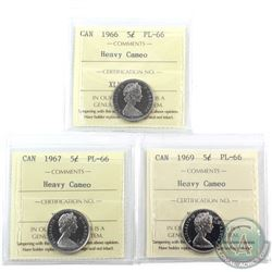 5-cent 1966, 1967 & 1969 ICCS Certified PL-66 Heavy Cameo. 3pcs