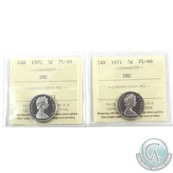 5-cent 1970 & 1971 ICCS Certified PL-66 Ultra Heavy Cameo. 2pcs
