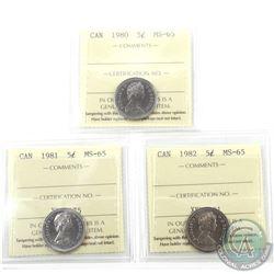 5-cent 1980, 1981 & 1982 ICCS Certified MS-65. 3pcs
