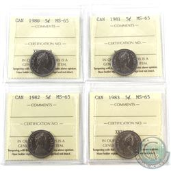 5-cent 1980, 1981, 1982 & 1983 ICCS MS-65. 4pcs