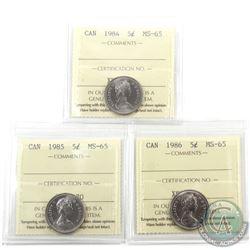 5-cent 1984, 1985 & 1986 ICCS Certified MS-65. 3pcs