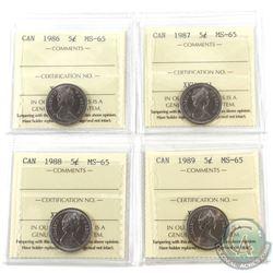 5-cent 1986, 1987, 1988 & 1989 ICCS MS-65. 4pcs