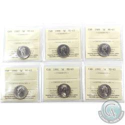 5-cent 1987, 1988, 1989, 1990, 1991 & 1992 ICCS Certified MS-65. 6pcs