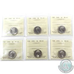 5-cent 1987, 1988, 1989, 1990, 1991 & 1992 ICCS Certified MS-65. 6pcs