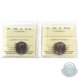 5-cent 1988 & 1989 ICCS MS-66. 2pcs