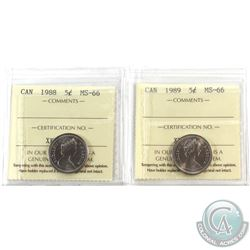 5-cent 1988 & 1989 ICCS MS-66. 2pcs