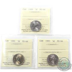 5-cent 1989, 1991 & 1995 ICCS Certified MS-66. 3pcs