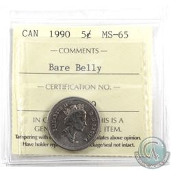 5-cent 1990 Bare Belly ICCS Certified MS-65