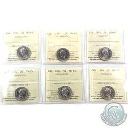5-cent 1993, 1994, 1995, 1997, 1998 & 1999 ICCS Certified MS-65. 6pcs