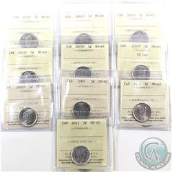 5-cent 2000P, 2001P, 2002P, 2003P, 2005P, 2005P VE Day, 2006P, 2007, 2009 & 2011 ICCS Certified MS-6
