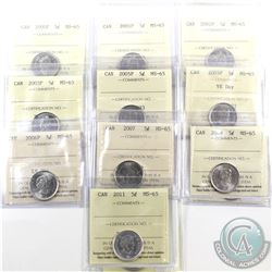 5-cent 2000P, 2001P, 2002P, 2003P, 2005P, 2005P VE Day, 2006P, 2007, 2009 & 2011 ICCS Certified MS-6