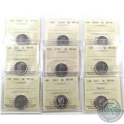 5-cent 2004P, 2005P, 2006P, 2007, 2008, 2011, 2012, 2015 & 2017 Beaver ICCS Certified MS-66. 9pcs