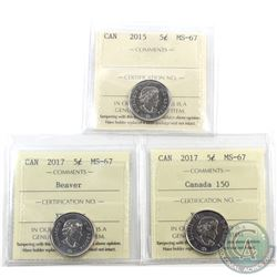 5-cent 2015, 2017 Beaver & 2017 Canada 150 ICCS Certified MS-67. 3pcs