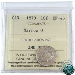 10-cent 1870 Narrow 0 ICCS Certified EF-45.