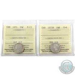 10-cent 1871 ICCS Certified F-15 & 1872H ICCS G-6. 2pcs