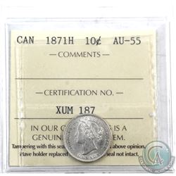 10-cent 1871H ICCS Certified AU-55. A bright coin with some minor die cracks on the obverse and some