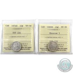 10-cent 1874H & 1880H Obverse 1 ICCS Certified VF-30. 2pcs