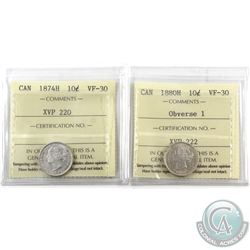 10-cent 1874H & 1880H Obverse 1 ICCS Certified VF-30. 2pcs