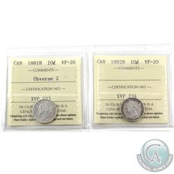 10-cent 1881H Obverse 2 & 1882H ICCS Certified VF-20. 2pcs