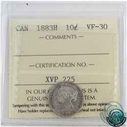 10-cent 1883H ICCS Certified VF-30