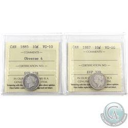 10-cent 1885 Obverse 4 & 1887 ICCS Certified VG-10. 2pcs