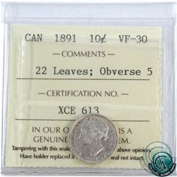 10-cent 1891 22 Leaves Obverse 5 ICCS Certified VF-30.