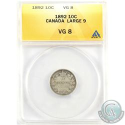 10-cent 1892 2/1, Large 9, Obverse 6 ANACS Certified VG-8