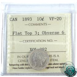 10-cent 1893 Flat Top 3 Obverse 6 ICCS Certified VF-20.
