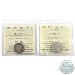 10-cent 1894 Obverse 5 ICCS F-15 & 1894 Obverse 6 ICCS F-12. 2pcs