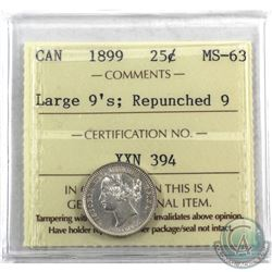 10-cent 1899 Large 9's, Repunched 9 ICCS Certified MS-63. Scarce Variety! A very attractive coin wit