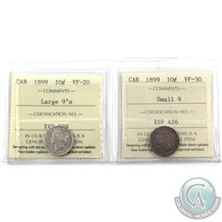 10-cent 1899 Small 9's ICCS VF-30 & 1899 Large 9's ICCS VF-20. 2pcs
