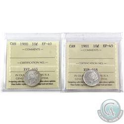 10-cent 1900 ICCS EF-40 & 1901 ICCS EF-45. 2pcs