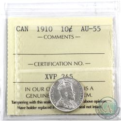 10-cent 1910 ICCS Certified AU-55. Bright white coin with lustre.