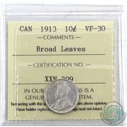 10-cent 1913 Broad Leaves ICCS Certified VF-30. A Nice mid-grade example of this tough variety.
