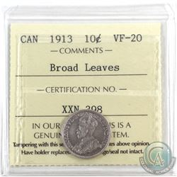 10-cent 1913 Broad Leaves ICCS Certified VF-20.