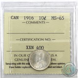 10-cent 1916 ICCS Certified MS-65. A frosted finish coin with subtle hints of golden throughout.