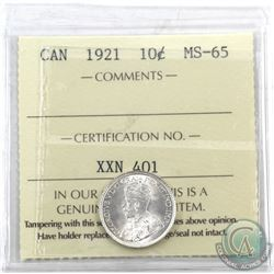 10-cent 1921 ICCS Certified MS-65. A flashy coin with choice eye appeal.