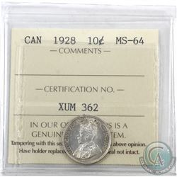 10-cent 1928 ICCS Certified MS-64. Flashy coin with light golden tones thoughout.