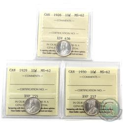 10-cent 1928, 1929 & 1930 ICCS Certified MS-62. All coins bright with nice lustre. 3pcs