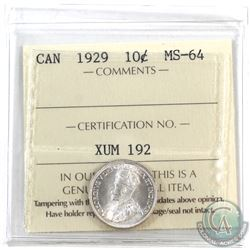 10-cent 1929 ICCS Certified MS-64. Frosted blast white coin.