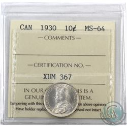 10-cent 1930 ICCS Certified MS-64. Radiant lustre with soft tones.