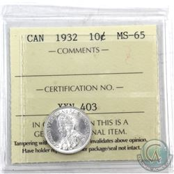 10-cent 1932 ICCS Certified MS-65 Full blast white! Exception eye appeal.